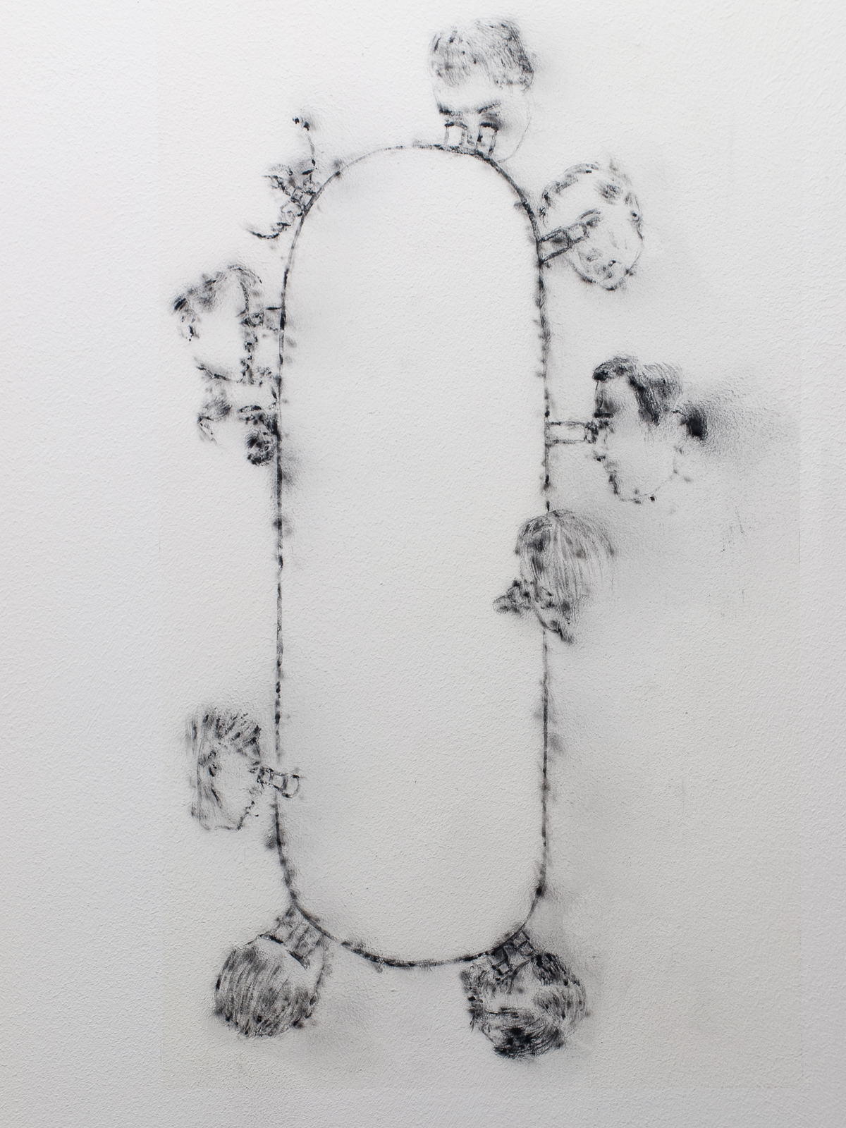 »Search«, 2012, wall drawing, onblown graphite dust, spray laquer, 60 x 36 cm