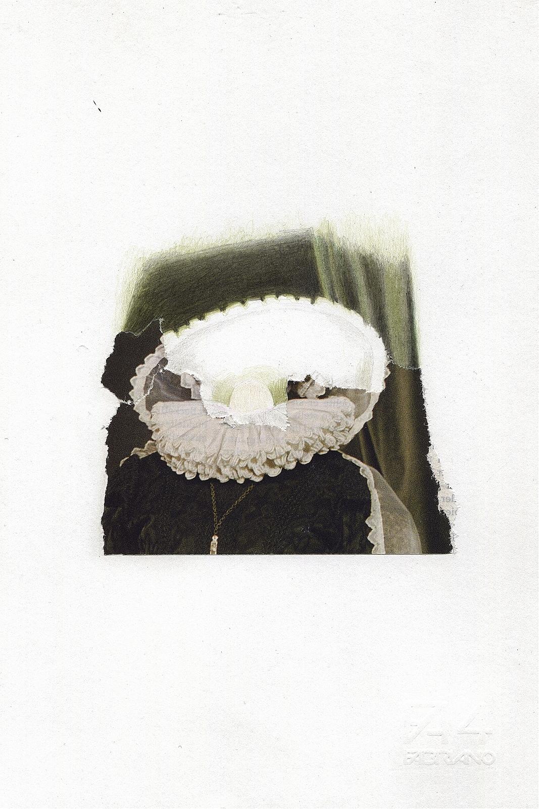 """Headless"", 2013, pencil, collage, 16.5 x 24 cm"
