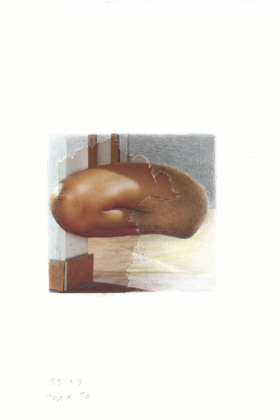 """""""o.T."""", 2013, pencil, collage, 16.5 x 24 cm"""