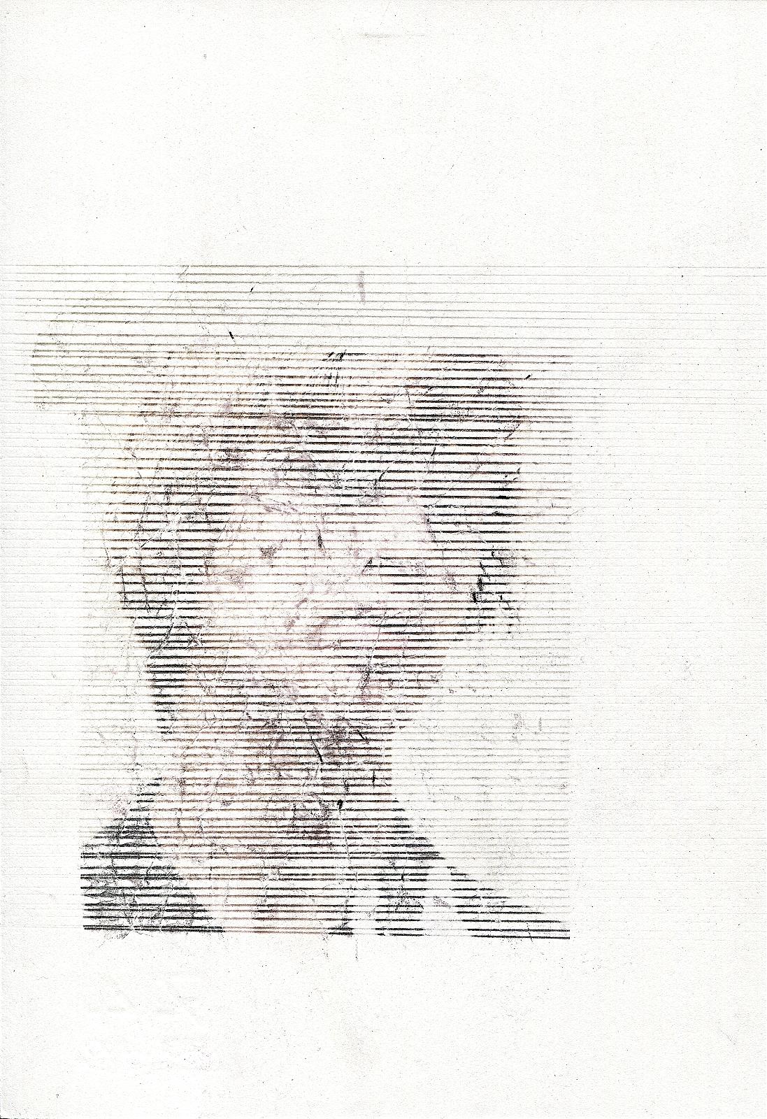 """Scratchhead"", 2017,  lavender-oil transferprint, pencil, 16.5 x 24.0 cm"