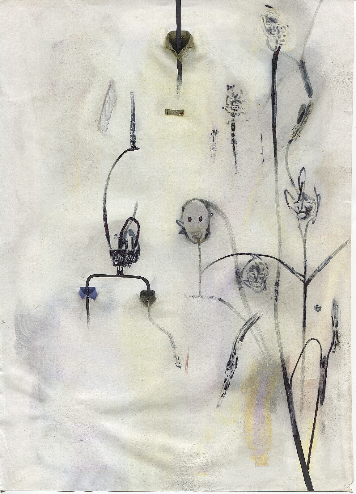 """Lawn of intimations #01"", 2018, lavender oil, pencil, feltpen on magazine page, 19.7 x 27.6 cm"