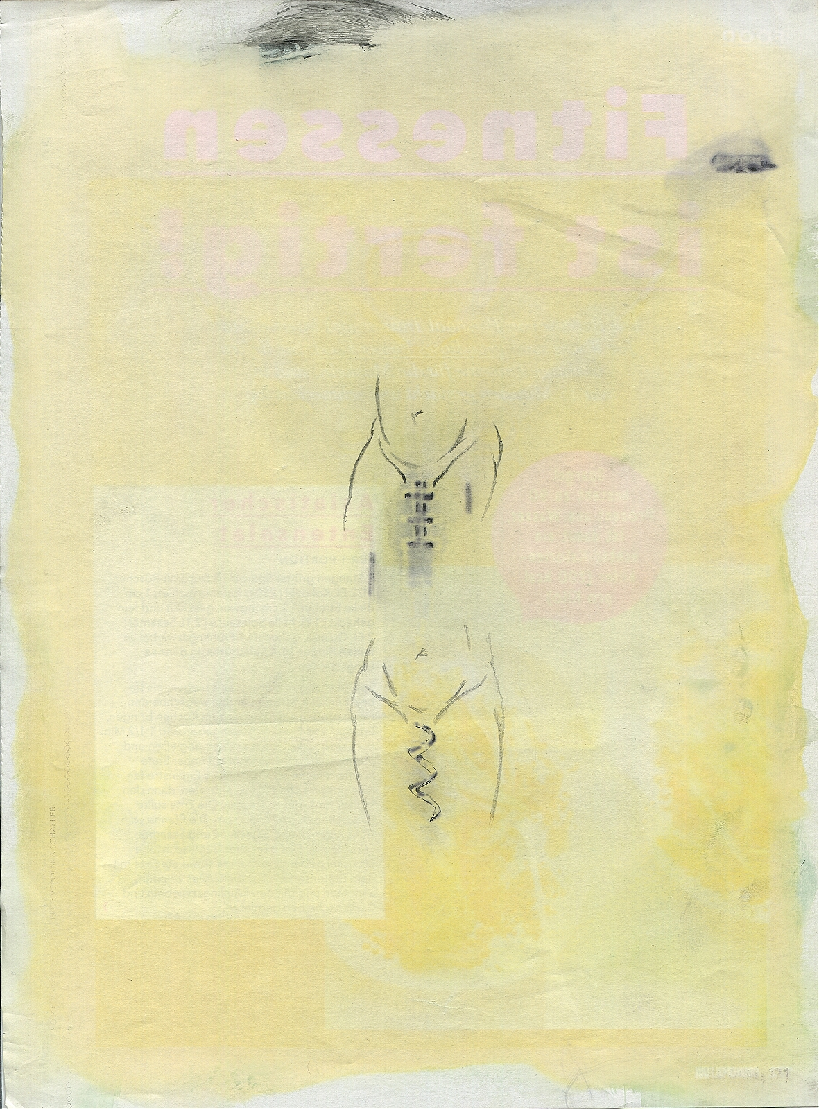 """Malefunction"", 2018, lavender-oil, pencil on magazine page, 20.5 x 28 cm"