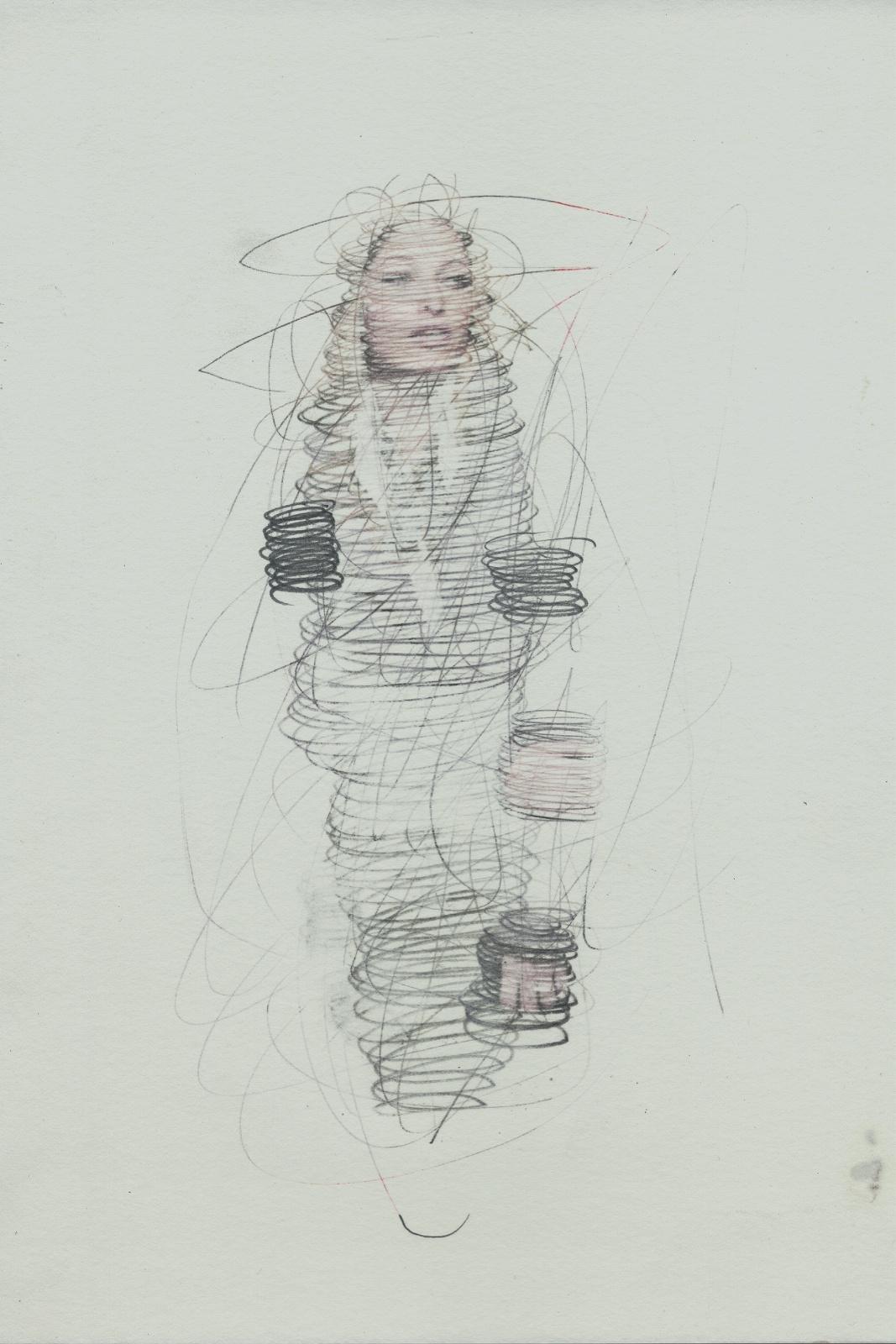 Spin #04, 2014, Lavender-Oil transferprint, pencil, 21 x 28 cm