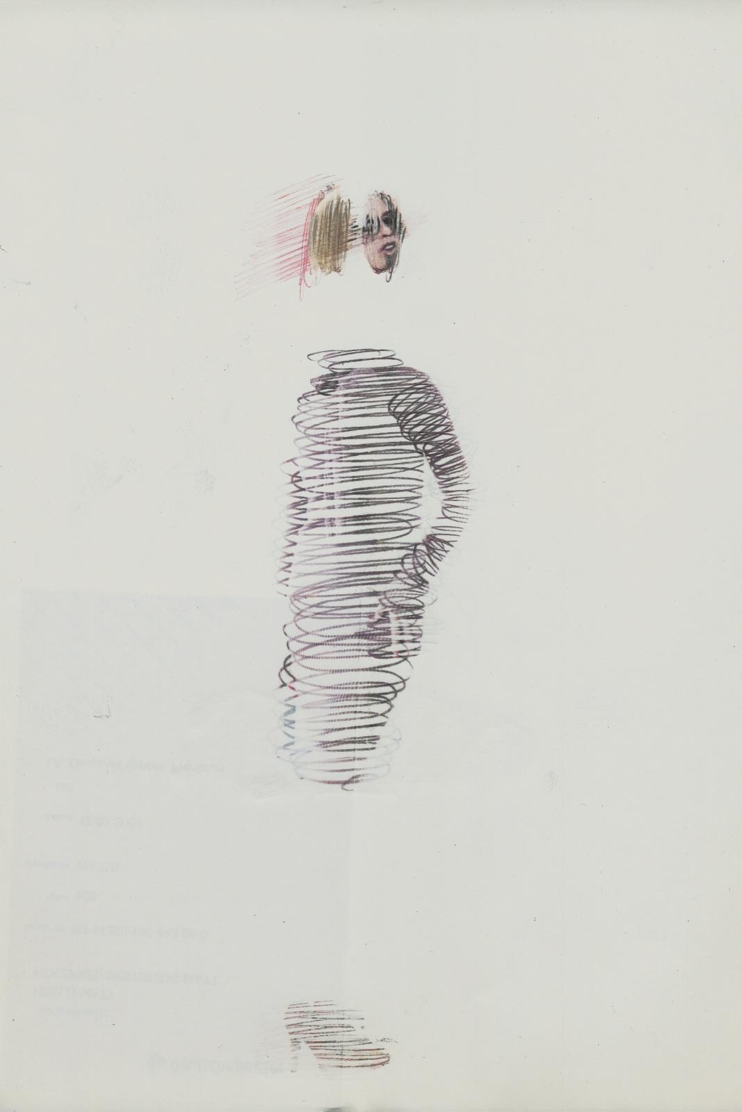 Spin #03, 2014, Lavender-Oil transferprint, pencil, 21 x 28 cm