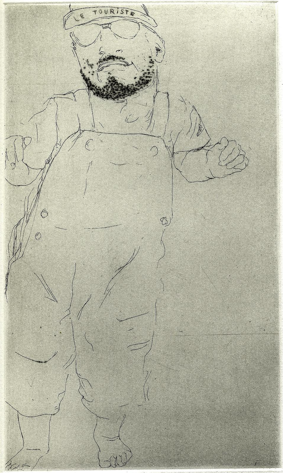 """""""Tourist"""", 2007, drypoint, 13,2 x 22,2 cm"""