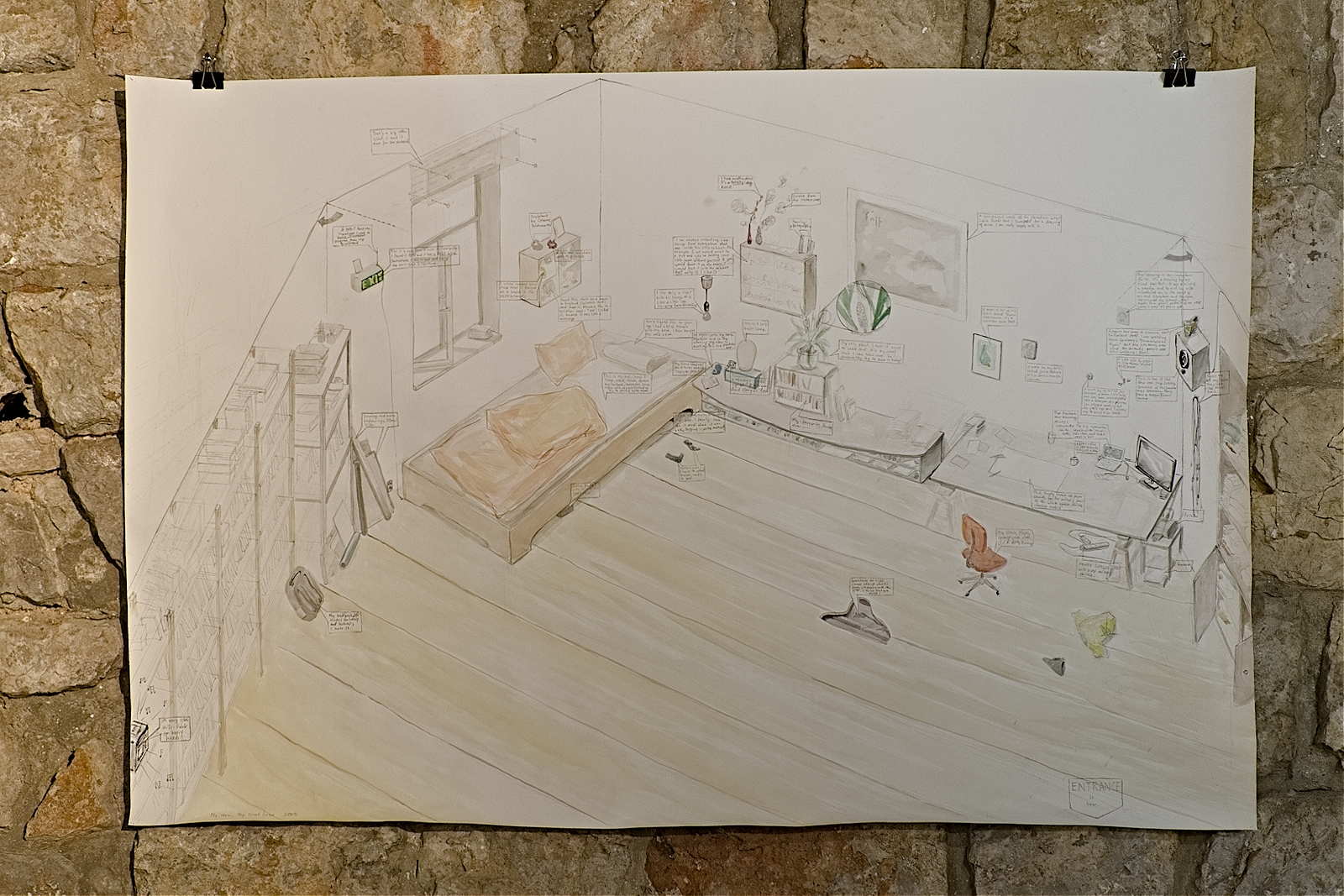 """""""My room"""", 2010, pencil, watercolor, ink on paper, 100 x 70 cm. The drawing is my room at home drawn from memory."""